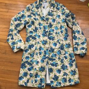 Retro Old Navy Trenchcoat - Floral button Down